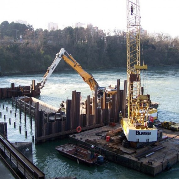 BUESA confortement en aval du barrage edf de cusset à lyon 2008