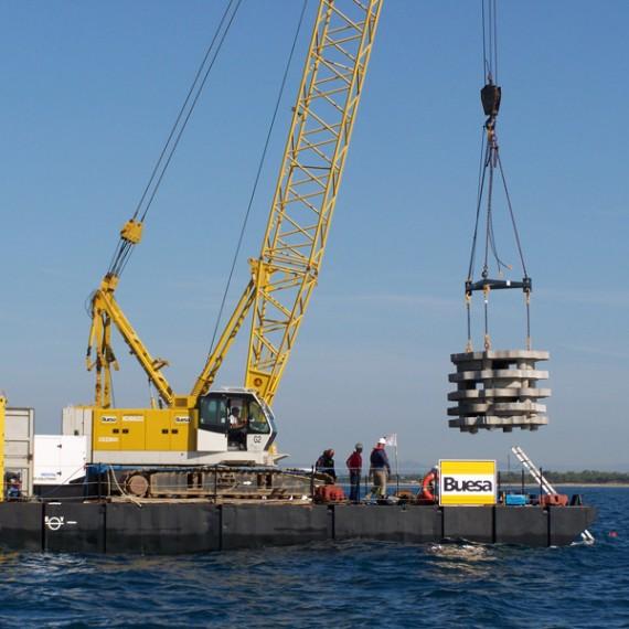 BUESA pose de récifs artificiels au cap d'agde 2010