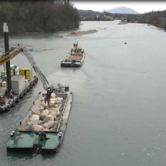 BUESA protection par enrochements de l'aval du barrage de Seyssel 2015