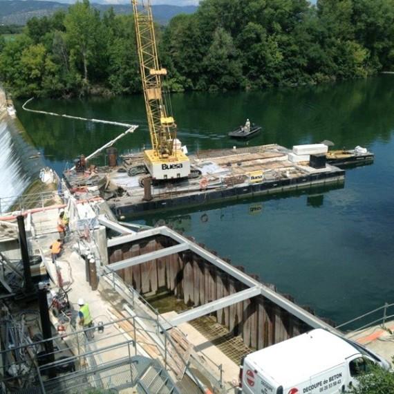 BUESA réfection de la prise d'eau du barrage de la meuse à Gignac 2014