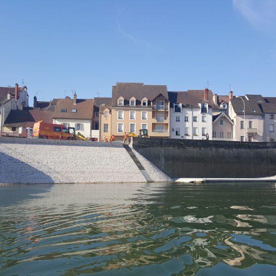 CAN Génie civil & battage Réfection du perré et du quai de la Monnaie (chalon sur Saône)