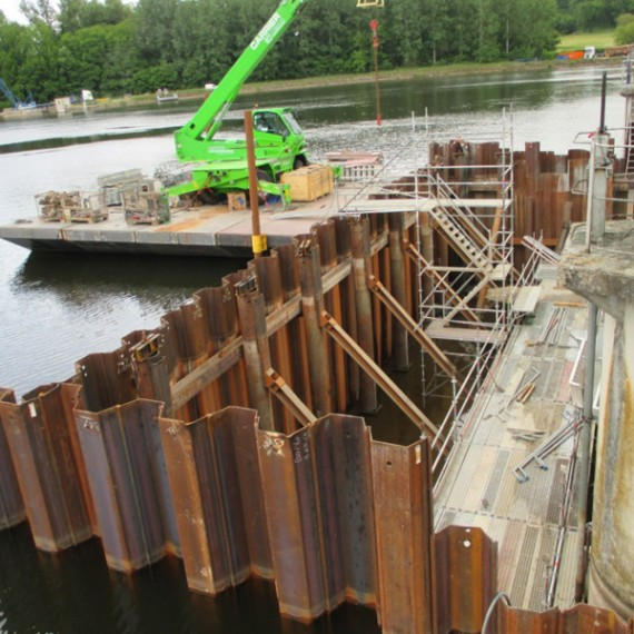 CHARIER batardeau provisoire - barrage de mauzac 2015