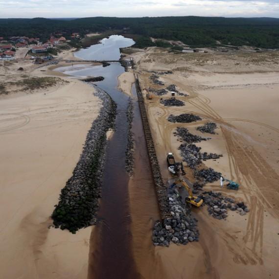 ETCHART CONSTRUCTION réhabilitation des digues nord et sud - landes 2014-2015